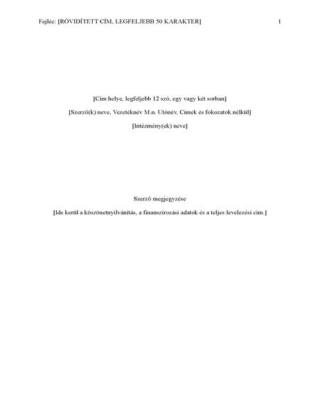 APA-stílusú jelentés (6. kiadás)