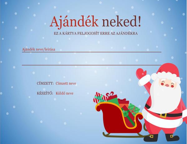 Karácsonyi ajándékutalvány (karácsonyi hangulat látványelem)