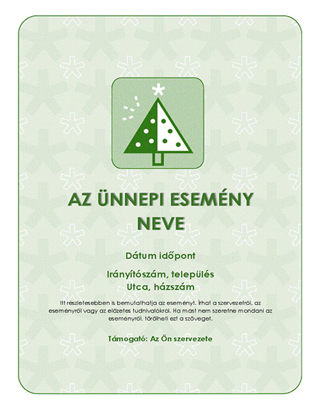 Holiday event flyer (with green tree)
