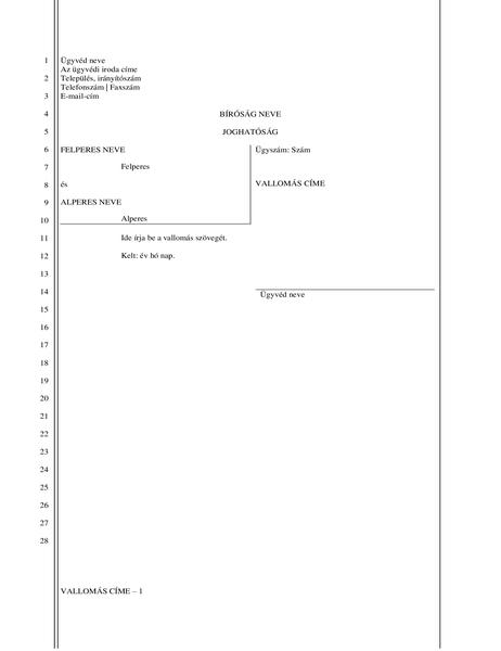Bírósági beadvány (28 sor)
