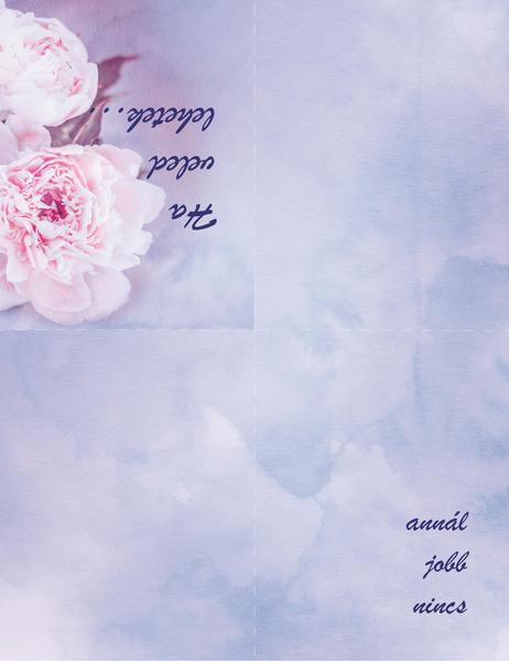 Romantikus kártya (rózsával, négyrét hajtva)