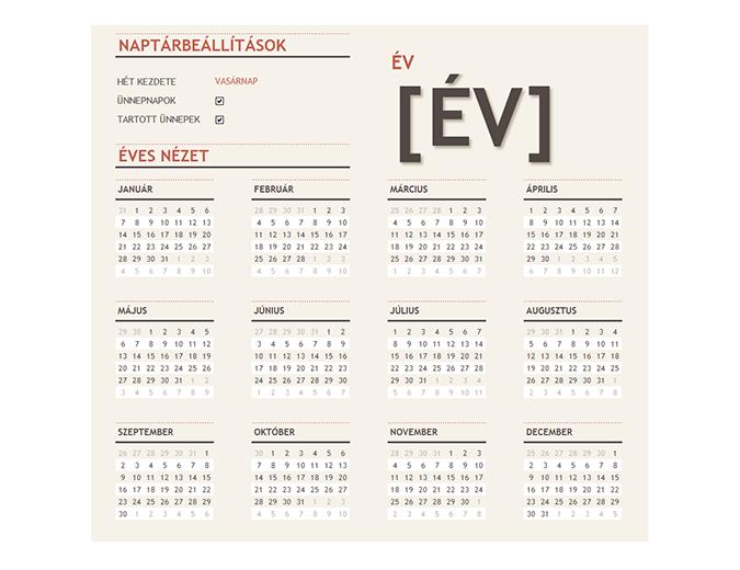 Ünnepnapokat tartalmazó általános éves naptár