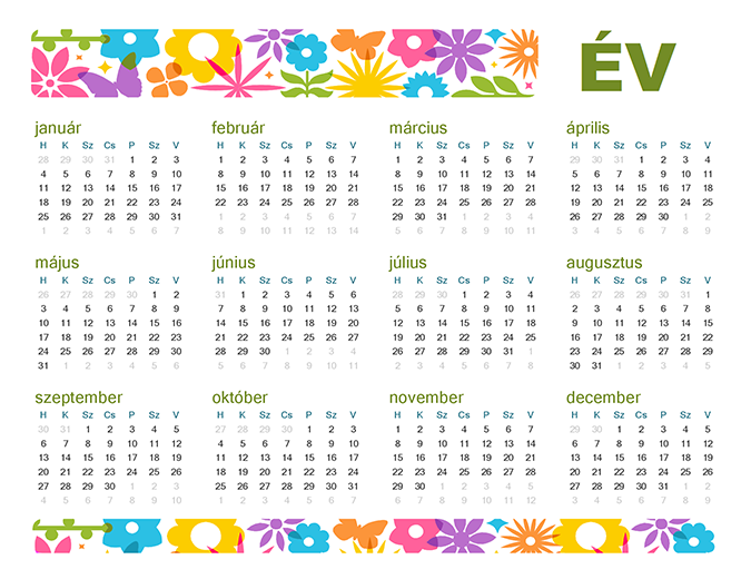 Játékos általános naptár
