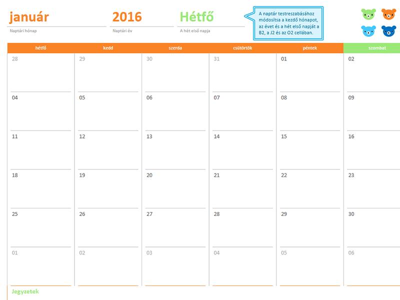 Havi naptár bármely évhez (12 oldal, szivárványos-medvés terv)