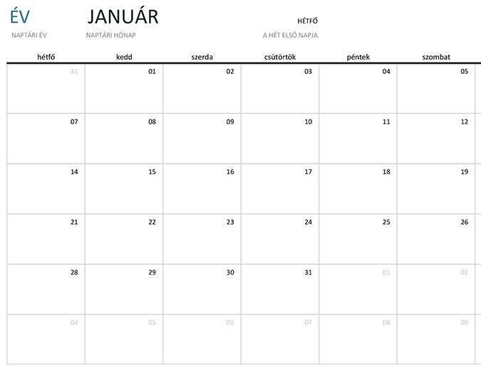 Egyhavi naptár tetszőleges évre