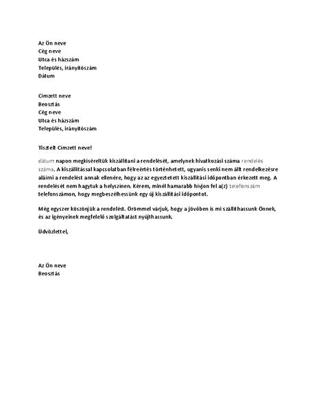Sikertelen kézbesítésről szóló levél egy ügyfélnek