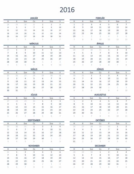 Egyéves naptár