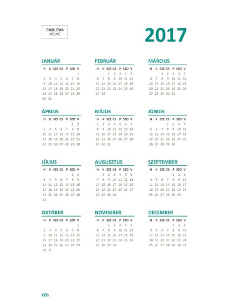 2017-es egylapos naptár (hétfő–vasárnap)