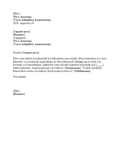 Kifizetési késedelemről szóló értesítés
