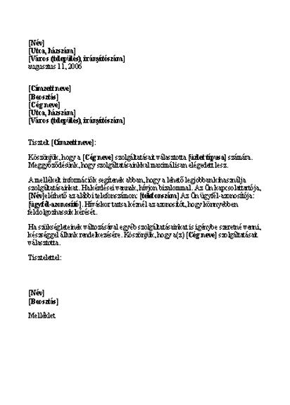 Bemutatkozó levél új ügyfélnek