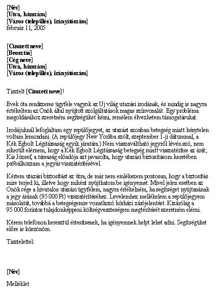 Visszatérítési kérelem utazási biztosítás alapján