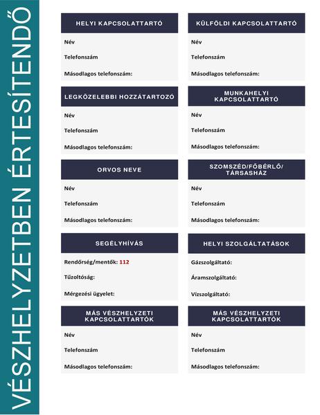 Vészhelyzetben értesítendő személyek listája