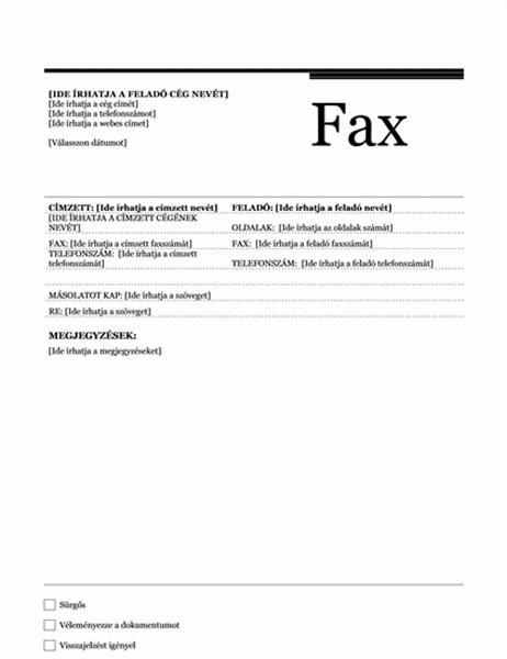 Faxfedőlap (Urbánus kivitel)