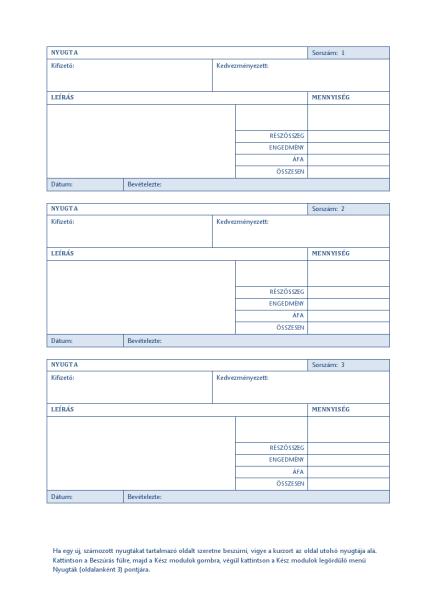 Automatikus sorszámozású nyugta (oldalanként 3)