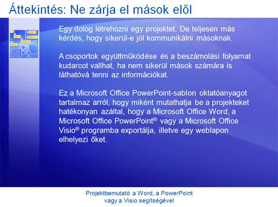 Oktatóbemutató: Project 2007 – Projektbemutató a Word, a PowerPoint vagy a Visio segítségével