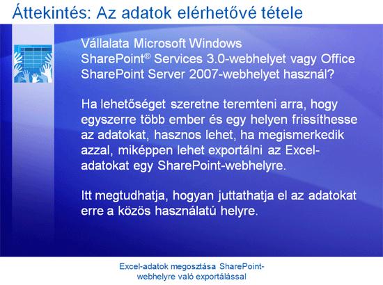 Oktatóbemutató: Excel 2007 – Excel-adatok megosztása SharePoint-webhelyre való exportálással