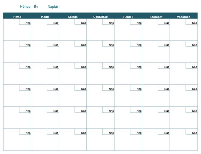 szerkeszthető naptár 2019 Üres havi naptár szerkeszthető naptár 2019