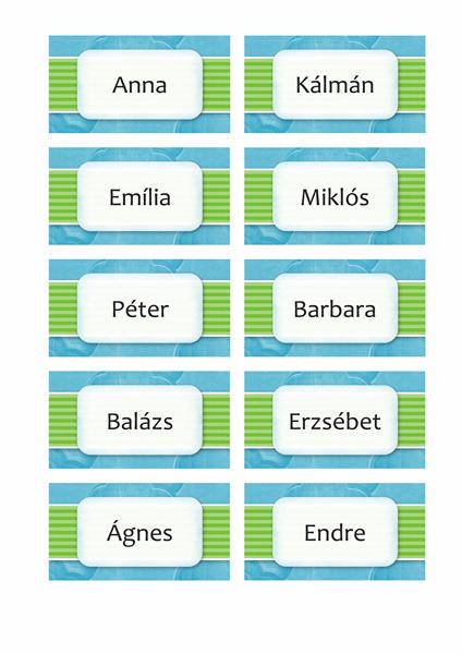 Névkártyák vagy ültetési kártyák (felhős látványterv, 10 db/oldal)