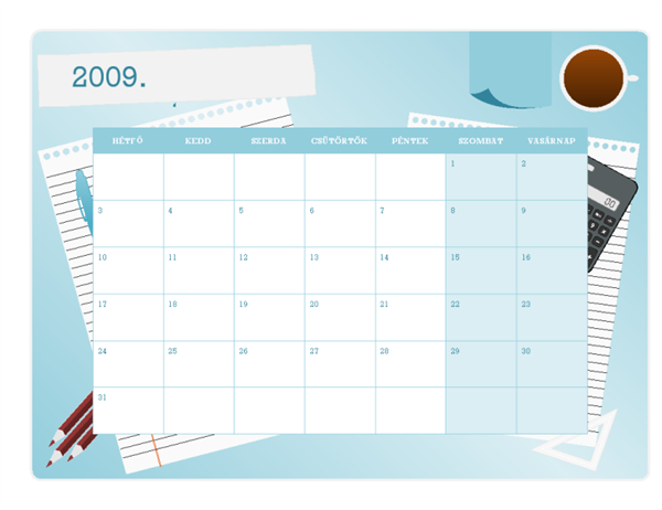 Naptár a 2009–2010. tanévre (augusztustól augusztusig, hétfőtől vasárnapig)