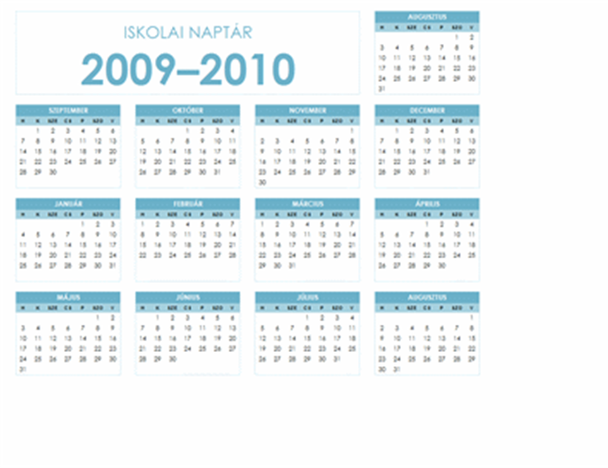Naptár a 2009–2010. tanévre (egyoldalas, fekvő, hétfőtől vasárnapig)