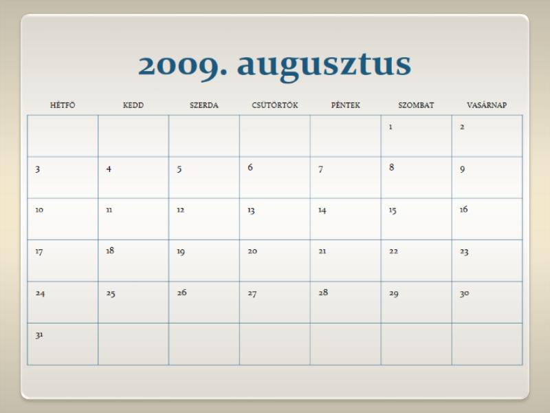 Naptár a 2009–2010. tanévre (13 oldal, hétfőtől vasárnapig)
