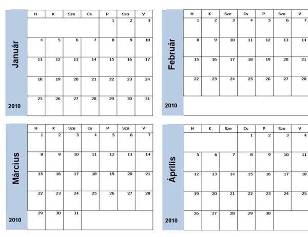 2010. évi naptár kék szegéllyel (3 oldal, hétfő–vasárnap)