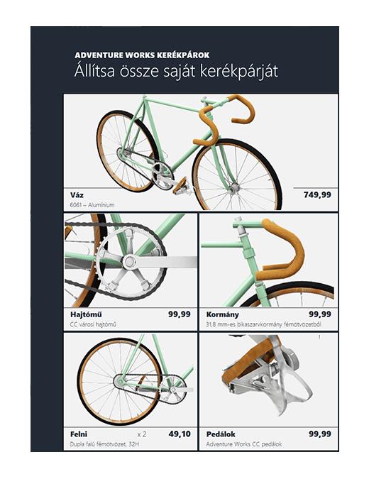 Térhatású Excel-termékkatalógus (kerékpármodell)