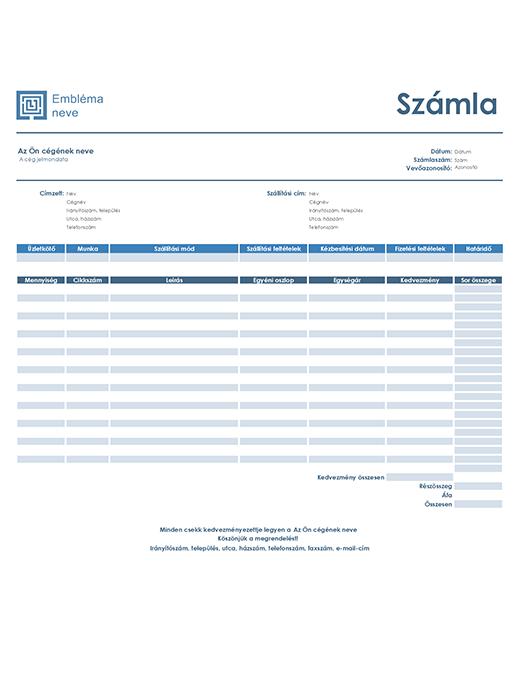 Értékesítési számla (egyszerű kék arculat)