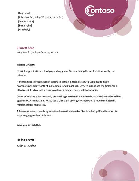 Rózsaszín kivitelű levélpapírfejléc