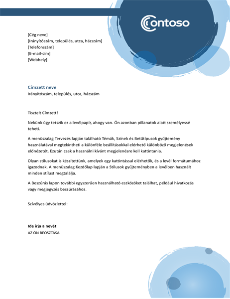 Kék kivitelű levélfejléc