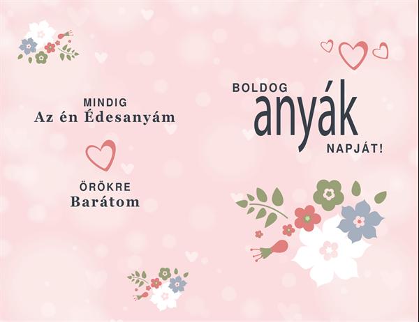 Csinos rózsaszín anyák napi képeslap