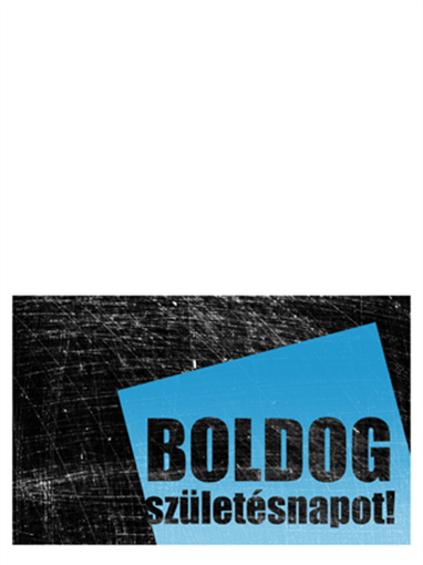 Születésnapi kártya, karcos háttér (fekete-kék, félbe hajtott)