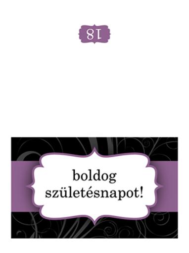 Születésnapi kártya (lila szalagos, félbe hajtott)