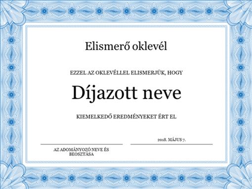 Elismerő oklevél (kék)