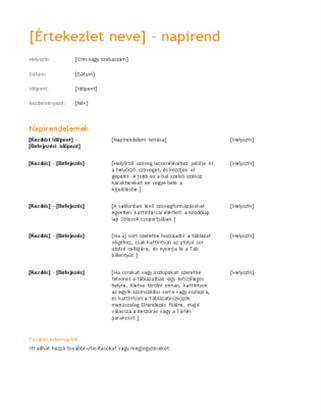 Üzleti értekezlet napirendje (narancsos látványterv)