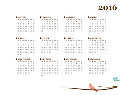 2016-os naptár