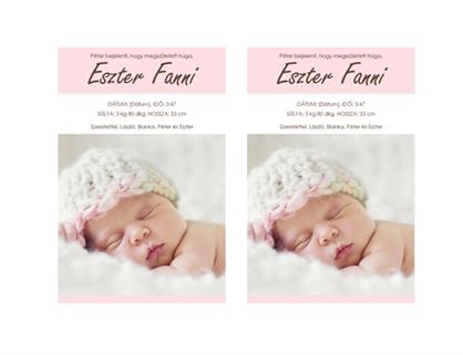 Kislány születésének bejelentése