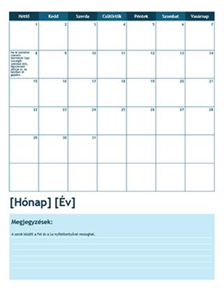 Havi iskolai naptár (hétfővel kezdődően)
