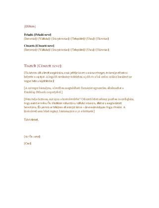 Hivatalos üzleti levél