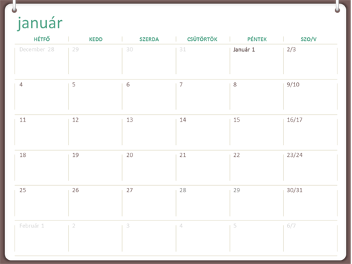 2017-es naptár (hétfő–vasárnap, kétgyűrűs arculat)
