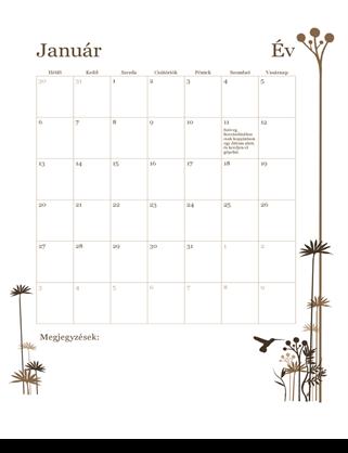 12 hónapos naptár (hétfő–vasárnap)