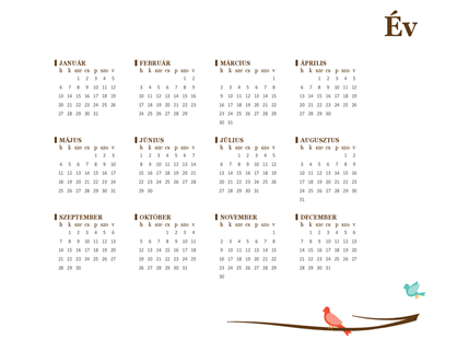 2018-as éves naptár (hétfő–vasárnap)
