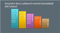 SmartArt-dia csökkenő méretű tömbökből álló listával (szürke alapon színes), szélesvásznú