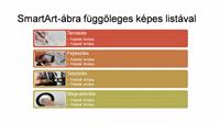 SmartArt-dia függőleges képes listával (fehér alapon színes), szélesvásznú