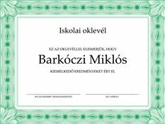 Iskolai oklevél (hivatalos zöld szegéllyel)