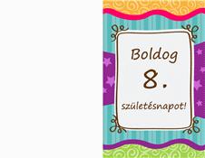 Születésnapi kártya – csillagos, sávos (gyermekeknek)