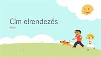 Játszó gyerekek témájú iskolai bemutató (rajzos illusztráció, szélesvásznú)