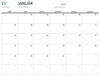 Havi naptár bármely évhez