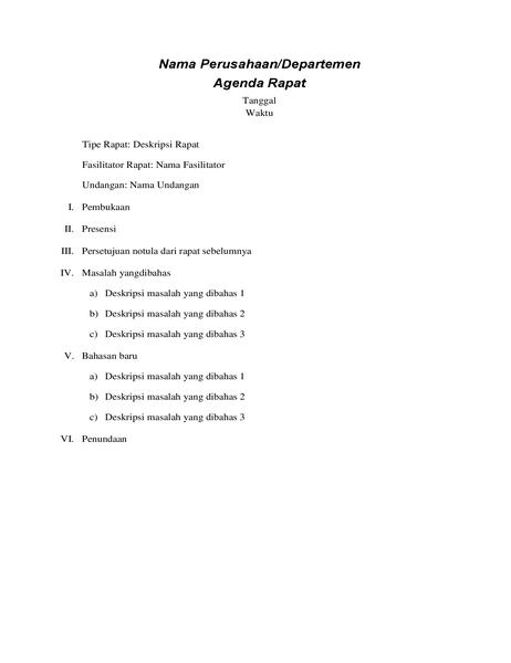 Agenda rapat resmi
