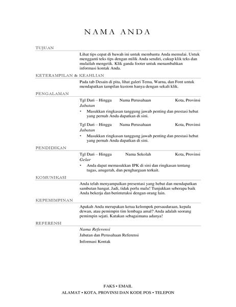 Resume manajer penjualan (elegan)